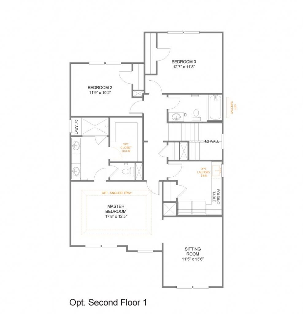 Detailed sketch of the second floor of The Keagan floorplan by True Homes with optional sitting room instead of game room