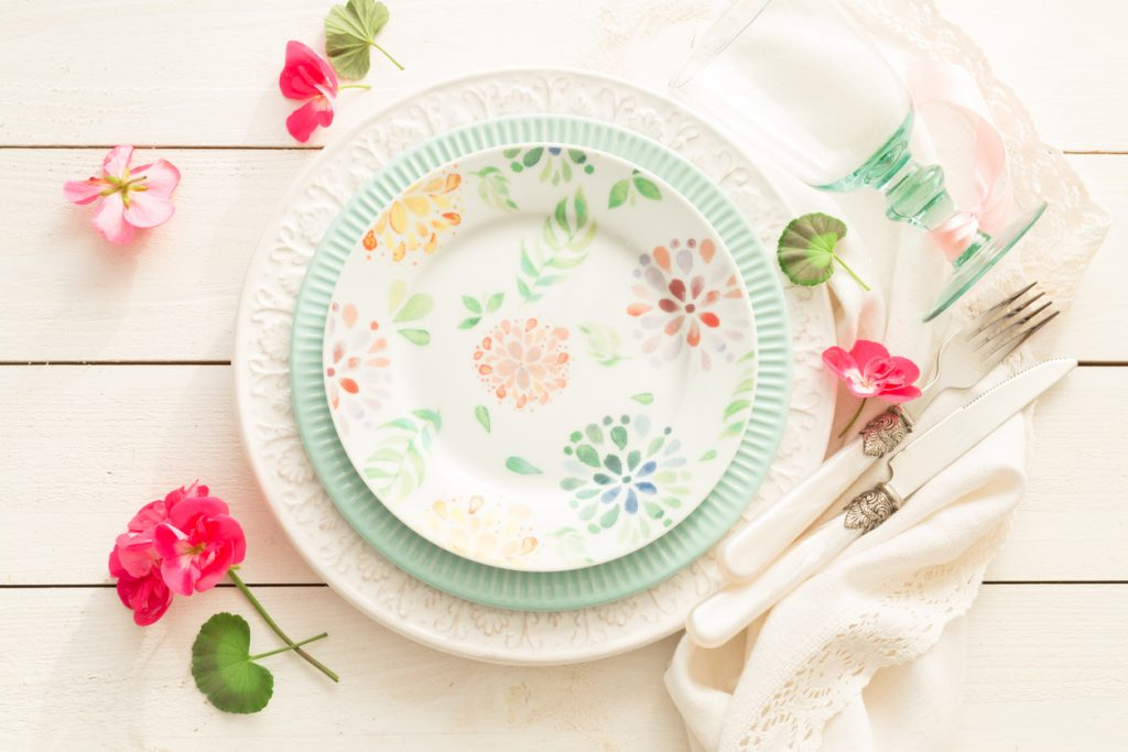 Spring table setting design from above
