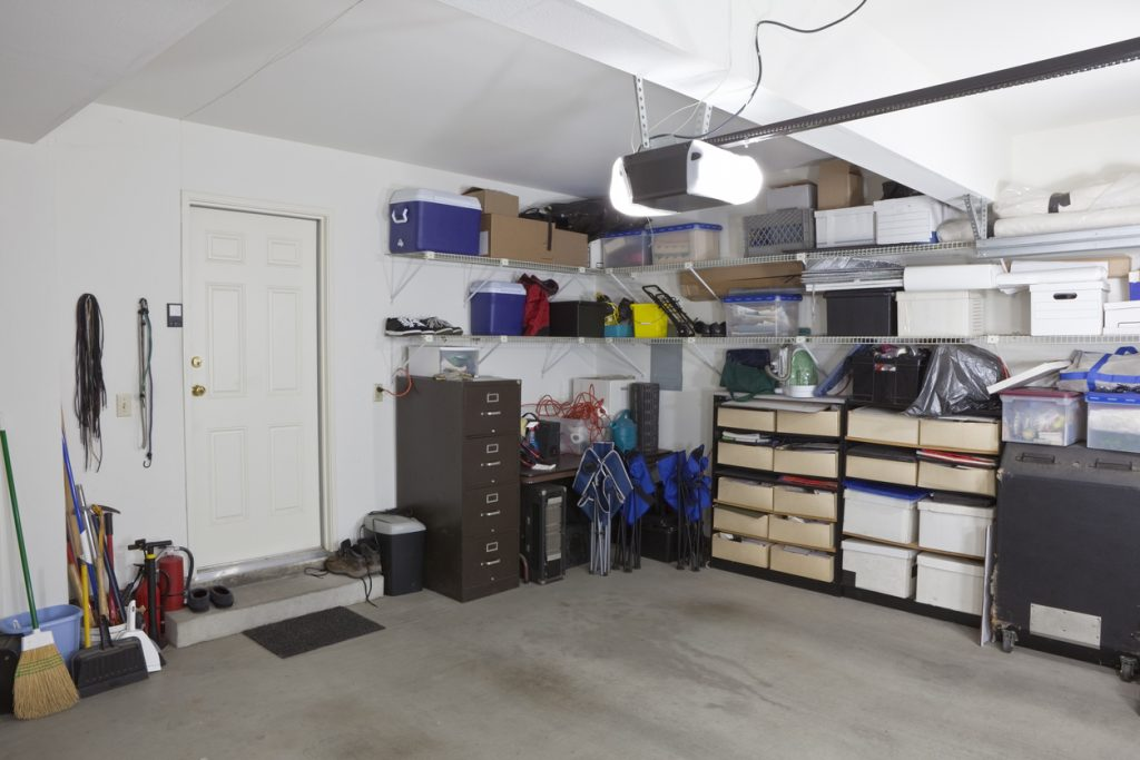 Garage storage with shelves and storage