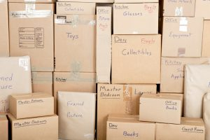 organized and labeled moving boxes